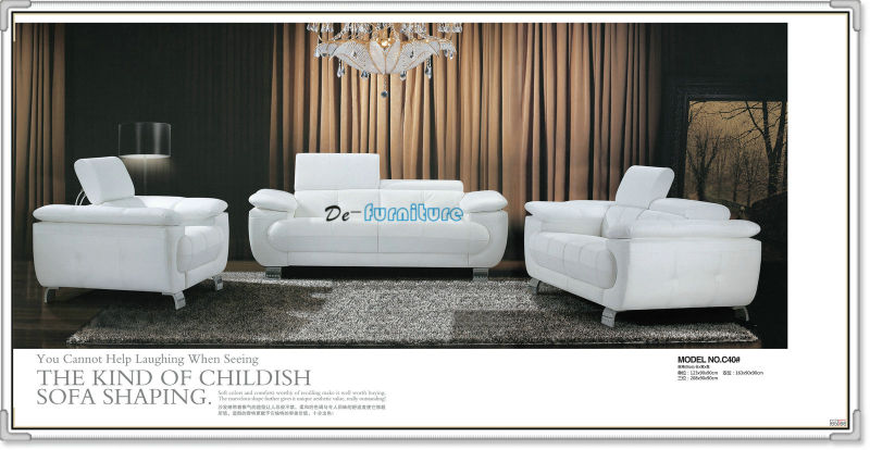 Black Modern Sofa, Leather Sofa Furniture (C40)