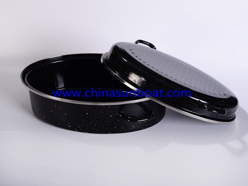 Enamel Carbon Steel Roaster with Sticks