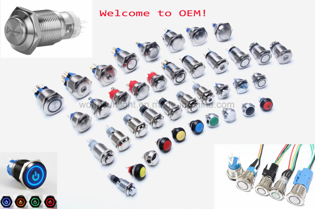 19mm 12V Green LED Car Auto Engine Waterproof Latching Stainless Steel Metal Doorbell Bell Horn Push Button Switch