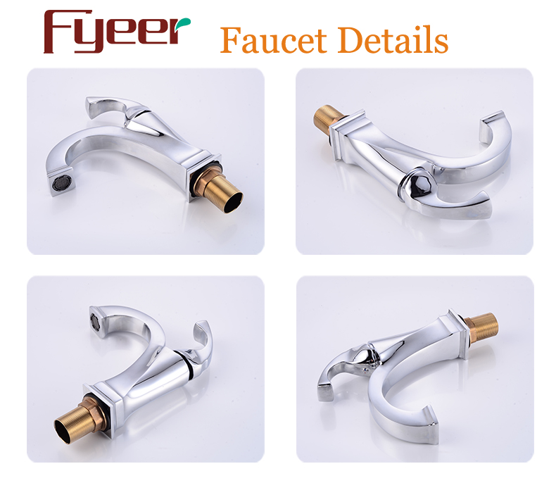 Fyeer Vintage Style Brass Faucet Wash Basin Mixer Tap