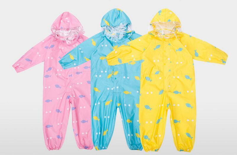 1-6 Years Old Children Raincoat Kids Jumpsuit Boys Girls One-Piece Cartoon Hooded Raincoat Suit Colourful Rainwear Baby Rompers 2018