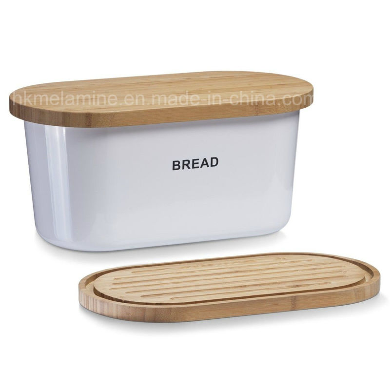 Melamine Bread Box with Bamboo Lid (BW248)