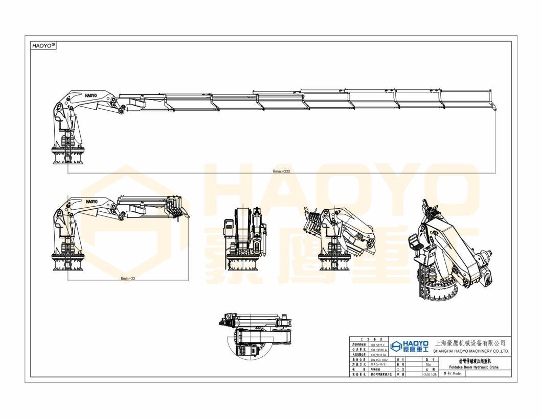 1t 10m Hydraulic Telescopic Knuckle Boom Ship Marine Crane