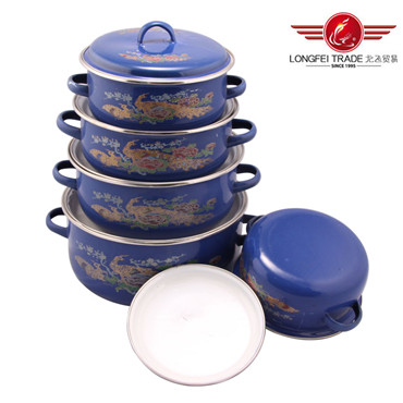 5PCS Enamel Pot Size 16-24cm Enamel Cookware Pot