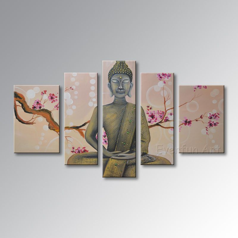 Hand Painted Buddha Oil Painting Abstract Wall Art on Canvas