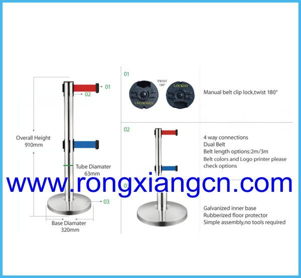 Stainless Steel Bank and Airport Barrier Rope Post