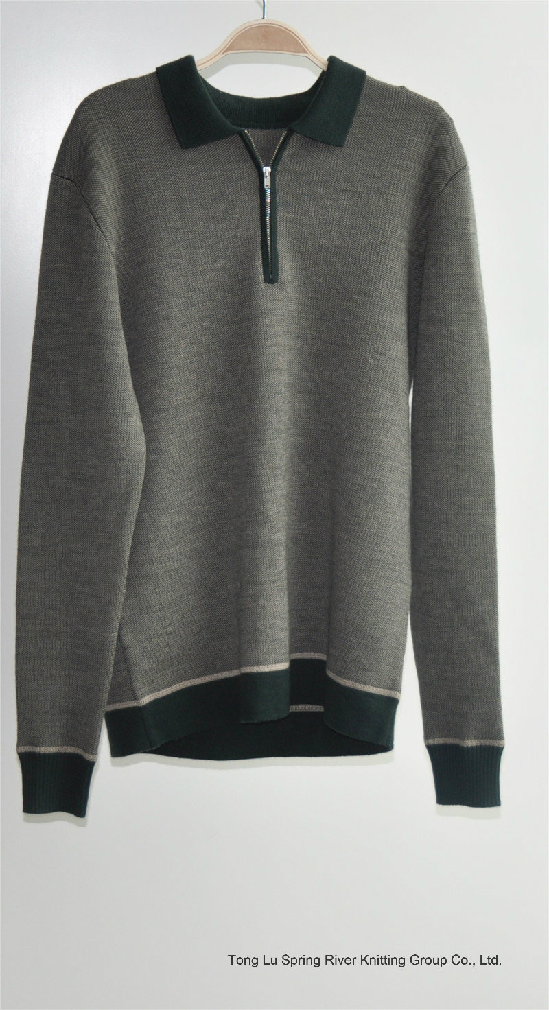 100% Wool Long Sleeve Pullover Man Sweater