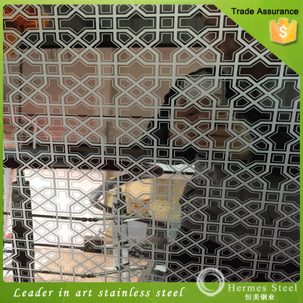 Color Mirror Polished Etched Stainless Steel Plate for Elevator