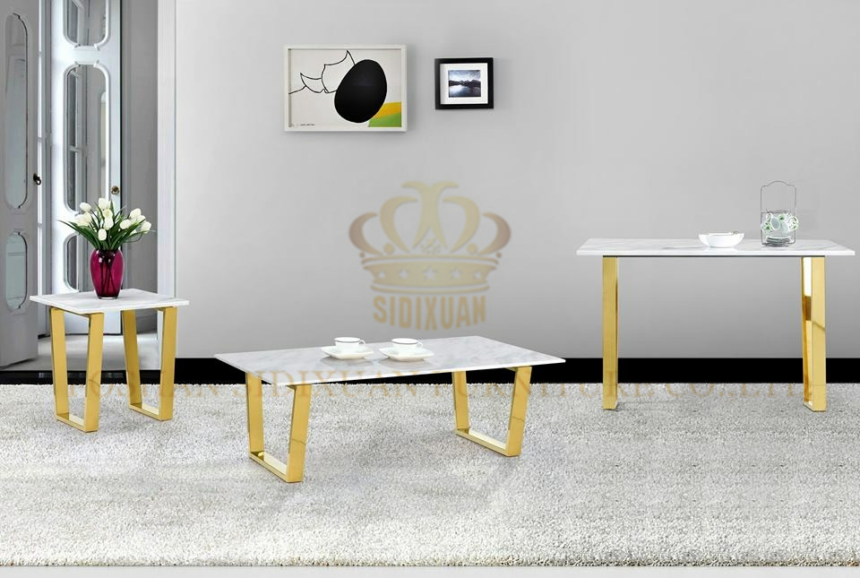 Luxury Home Interior Stainless Steel White Marble Top Dining Table Set