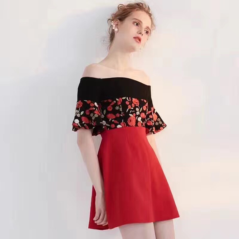 Summer Fashion off-Shoulder Flowers Pretty Ladies Dress