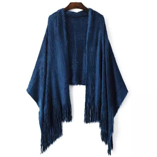 Womens Soft Long Hair Knitted Checked Stole Shawl Wraps Scarf (SP284)