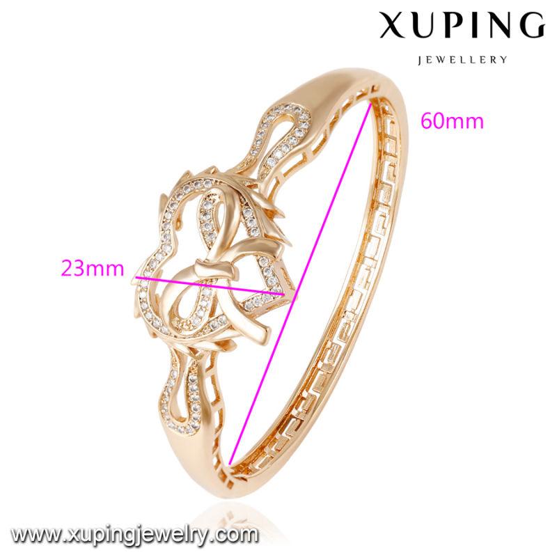 50848 Fashion Charm CZ Heart-Shaped 18k Gold-Plated Jewelry Bangle