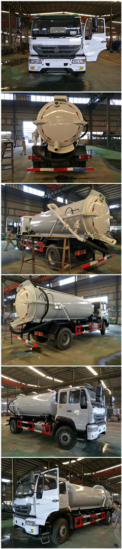 Heavy Duty 10cbm HOWO Vacuum Sewage Suction Trucks