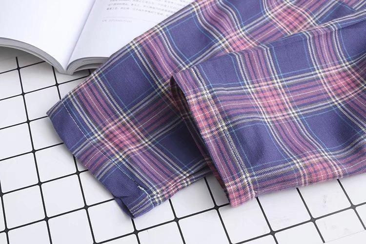 Cotton Yarn Women Plaid Shirt
