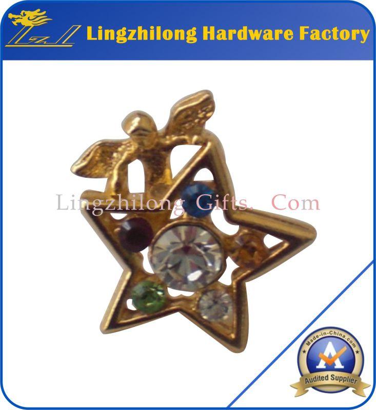3D Gold Rhinestone Angel Badge