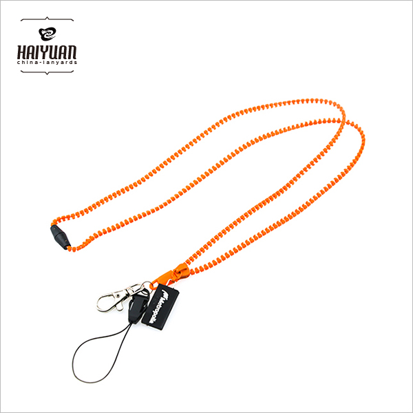 High End Famous Brand Patterned Rock Band Zipper Neck Lanyards with Rubber Puller