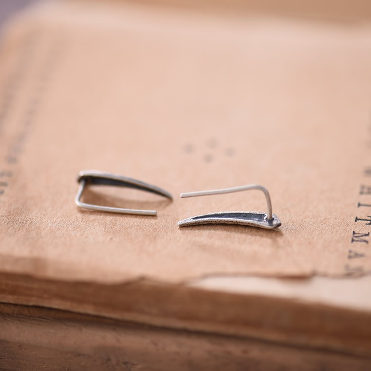 Pointed Sterling Silver Vintage Rugged Stud Earrings Simple Ear Collection
