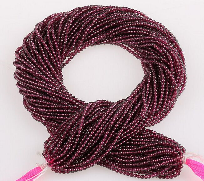 Wholesale Gemstone Loose Strands Small Size 2mm 3mm Natural Garnet Stone