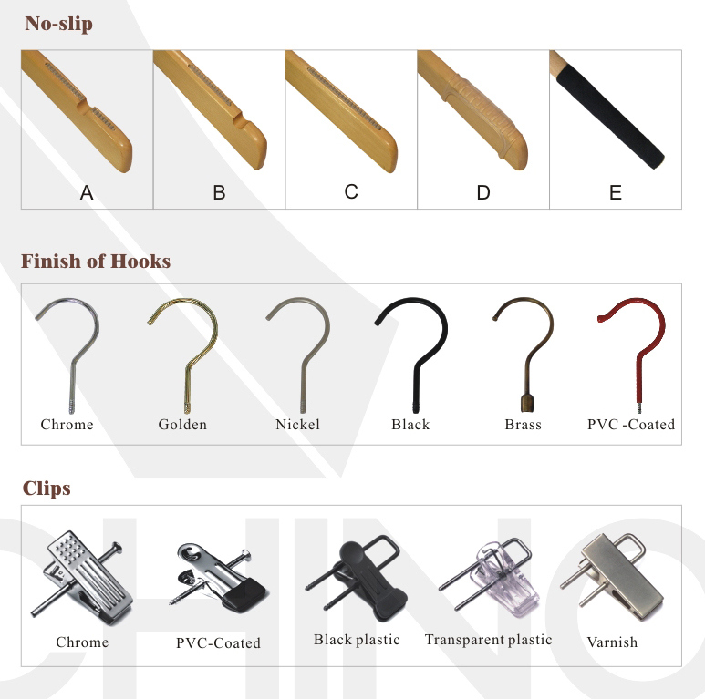 Bamboo Skirt Hangers with Metal Hook (BPSH-100)