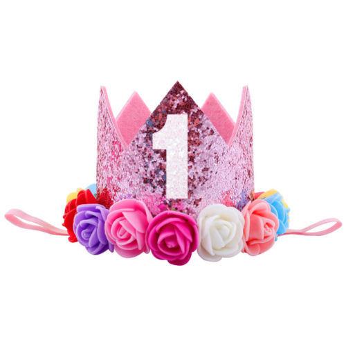 Kids Baby 1st Birthday Hat Glitter Crown Flower Head Hair Band Party Headwear