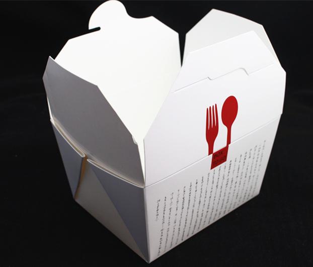Custom Logo White Cardboard Noodle Box with Metal Handle