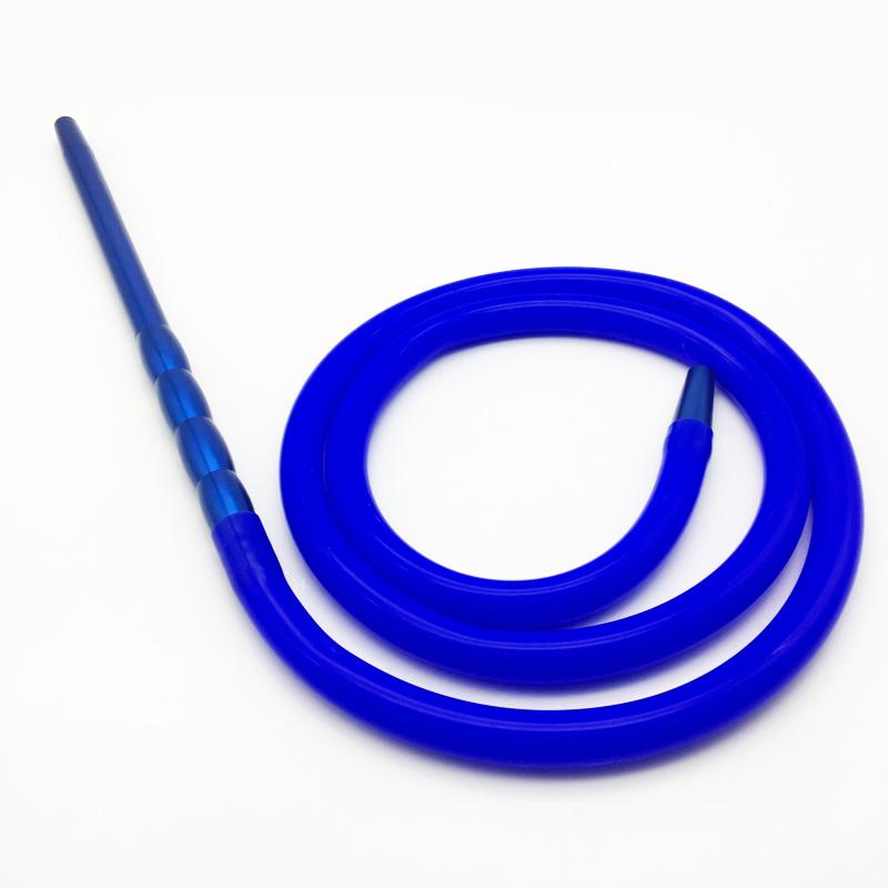 2m Blue Silicone Shisha Hookah Hose with Metal Mouthpiece (ES-HH-016-5)