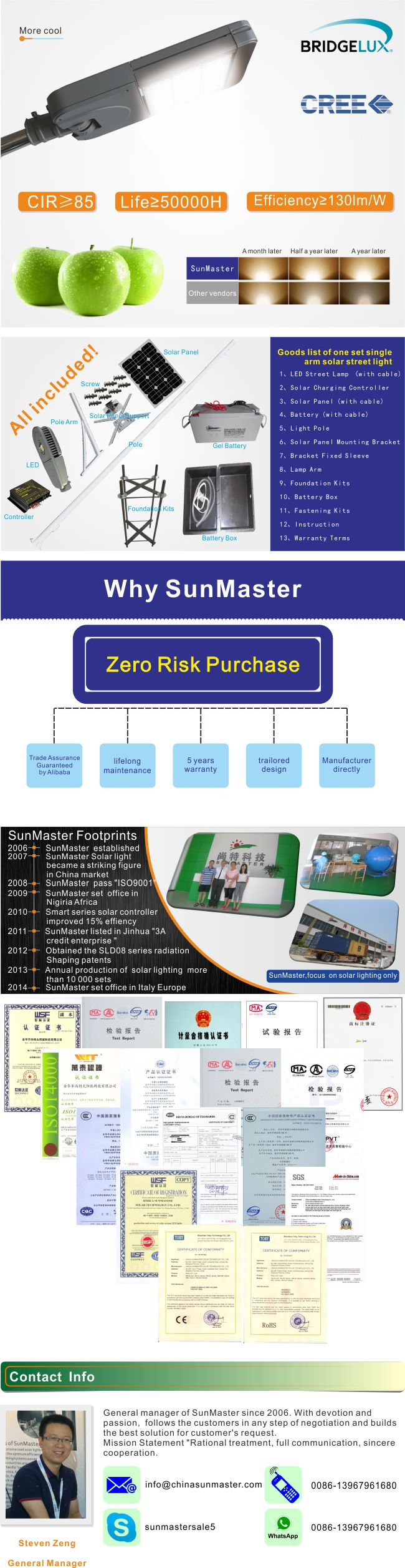 Solar Equipment 5years Warranty 30W Detailed Solar Street Light Price List