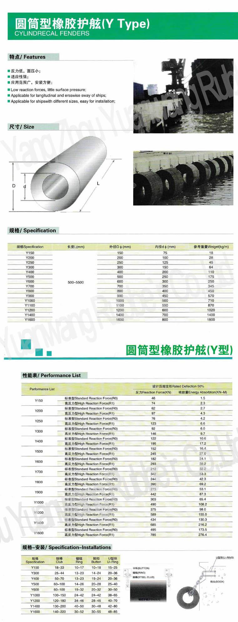 Cylinderical Marine Fender (Y Type)