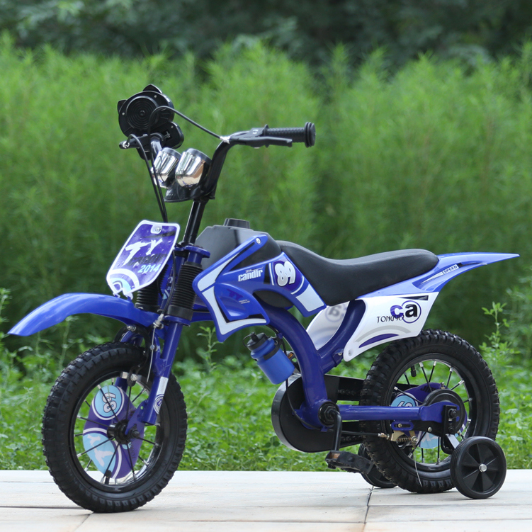 16 Inch Kids Dirt Bicycle / Blue BMX Bicycle / Moto Bike Bicycle