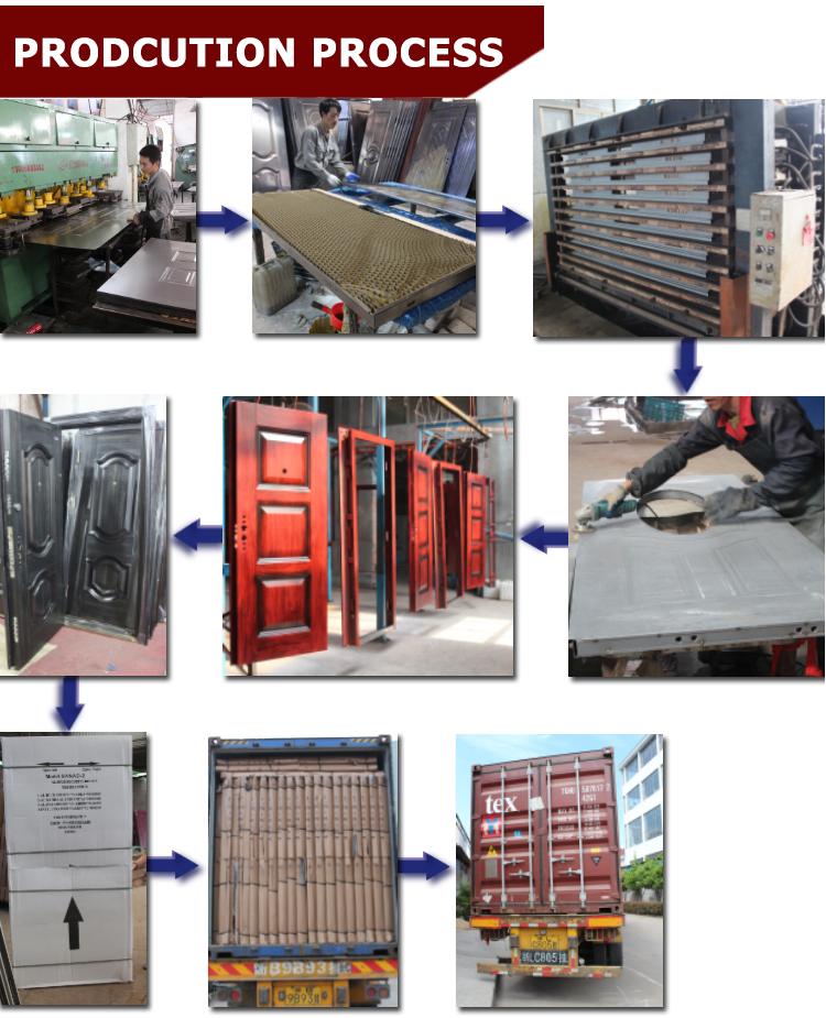TPS-063 Morden House Steel Door Design with Heat Transfer Wooden Color