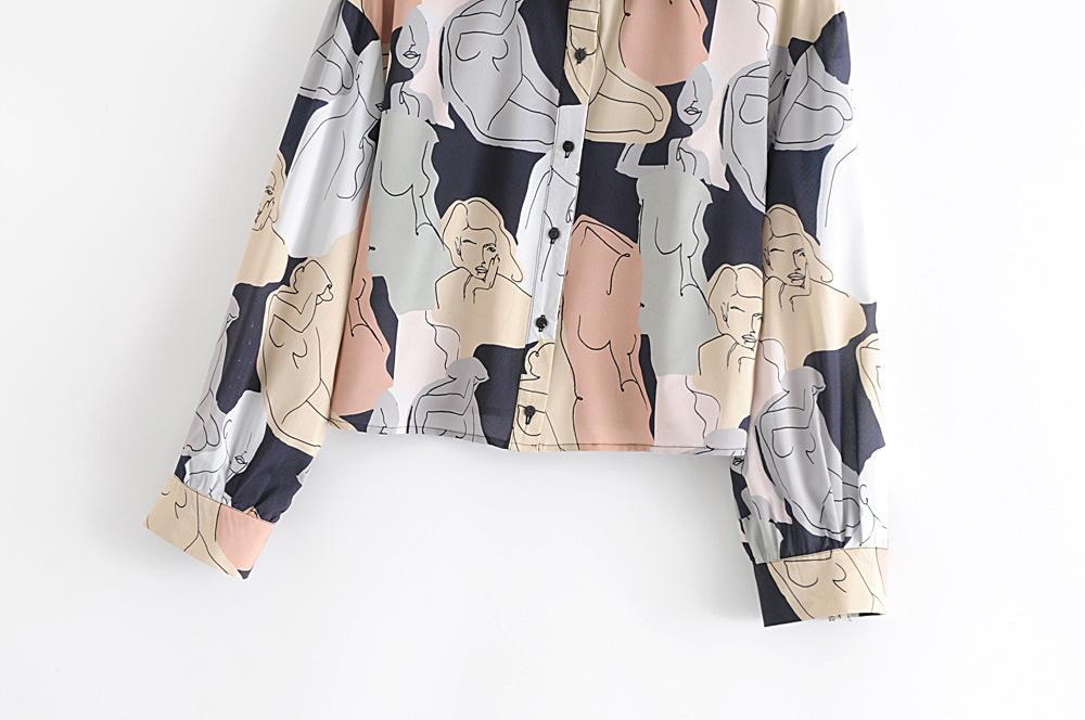 Colorful Women Print Chiffon Blouses
