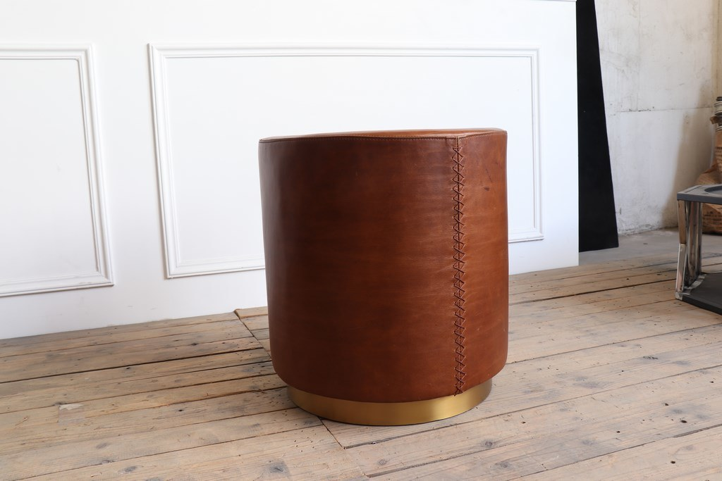 Vintage Brown Leather Top and Plating Gold Color Brushed Round Bottom Coffee Table Side Table