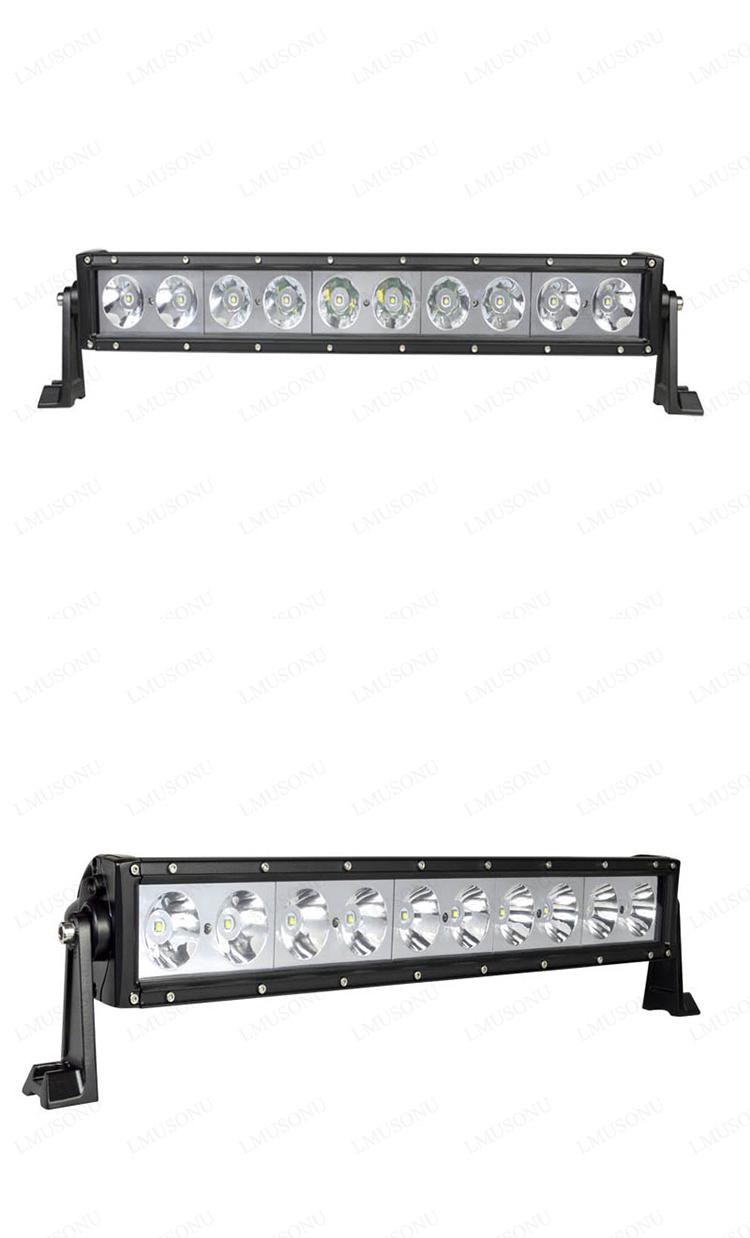 Lmusonu 23.5 Inch Single Row LED Light Bars 100W 12V Flood Spot off Road Offroad for ATV 4X4 Truck