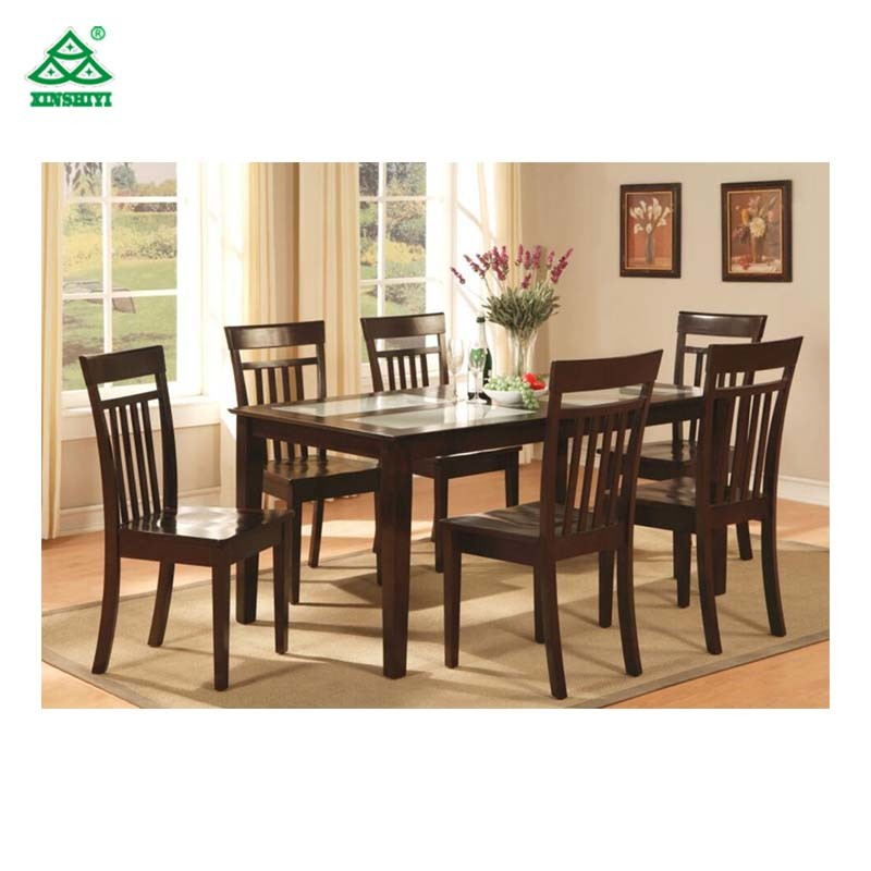 Durable Timber Hotel Table Wooden Contemporary Dining Table with Chairs
