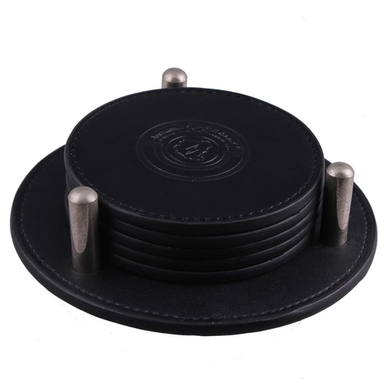 Custom Logo Black PU Genuine Leather Mug Bar Placemat Coaster