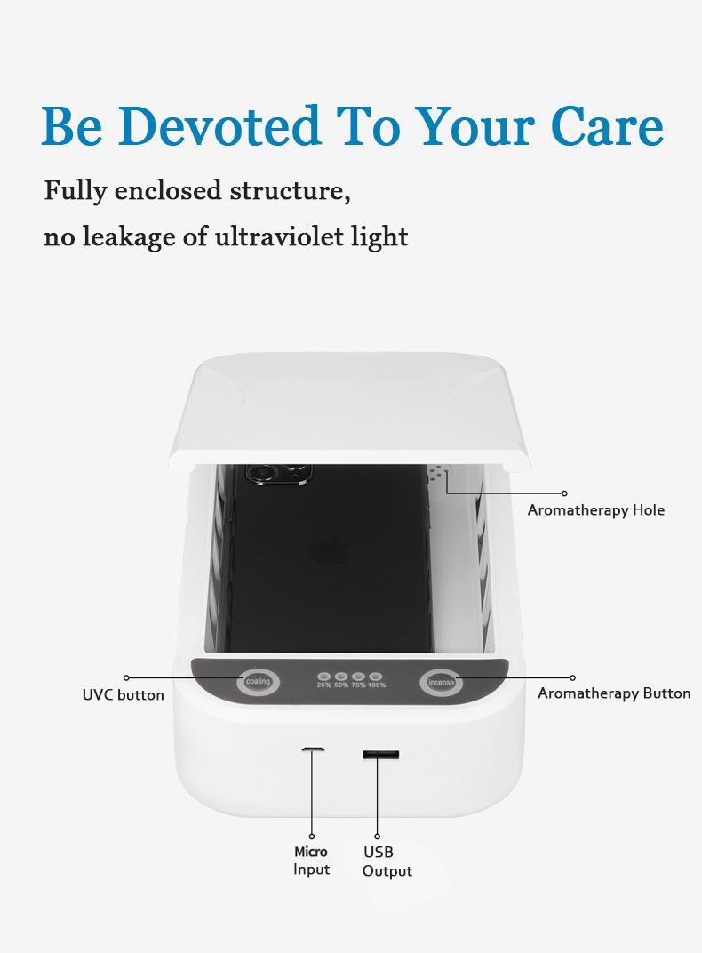 Máscara facial para relógio desinfetante desinfetante portátil com luz ultravioleta caixa esterilizadora de telefone celular