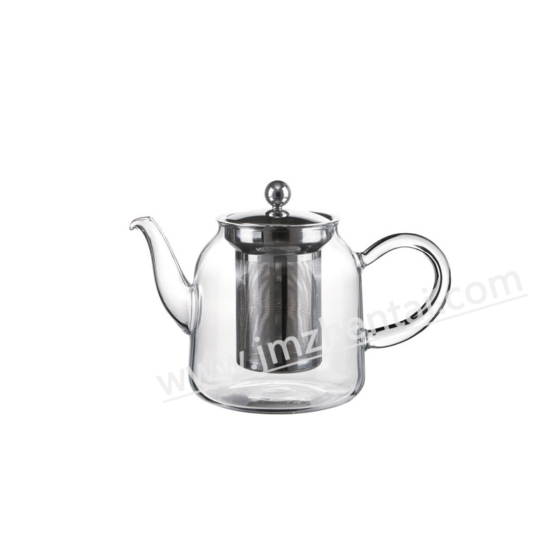 Personalize Transprent Single Wall Glass Teapot with Strainer