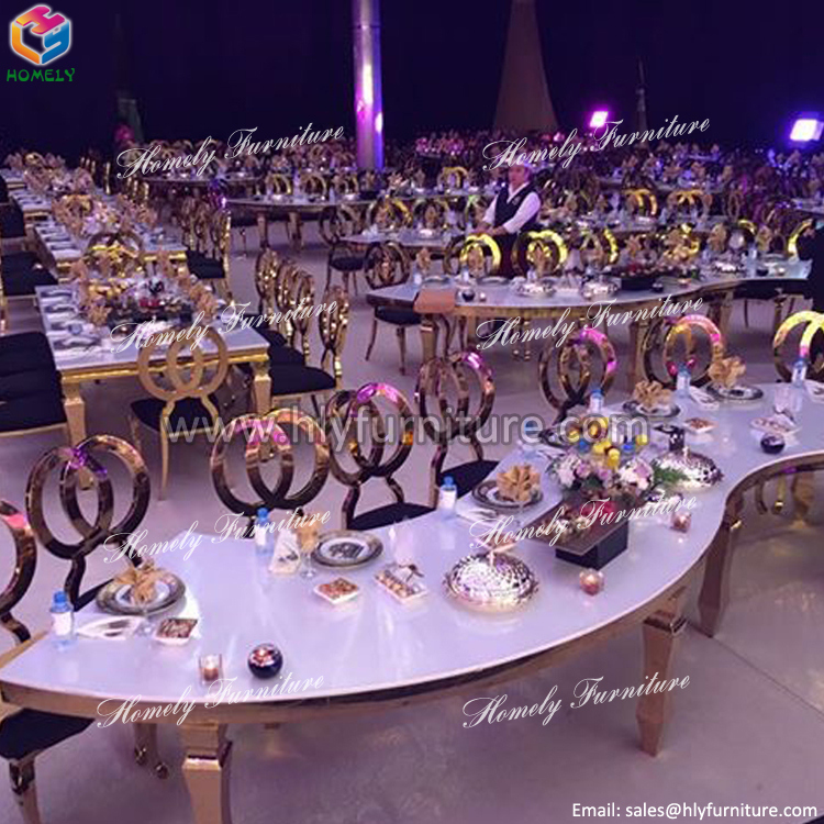 Luxury Hotel Dining Gold Wedding Stainless Steel Table
