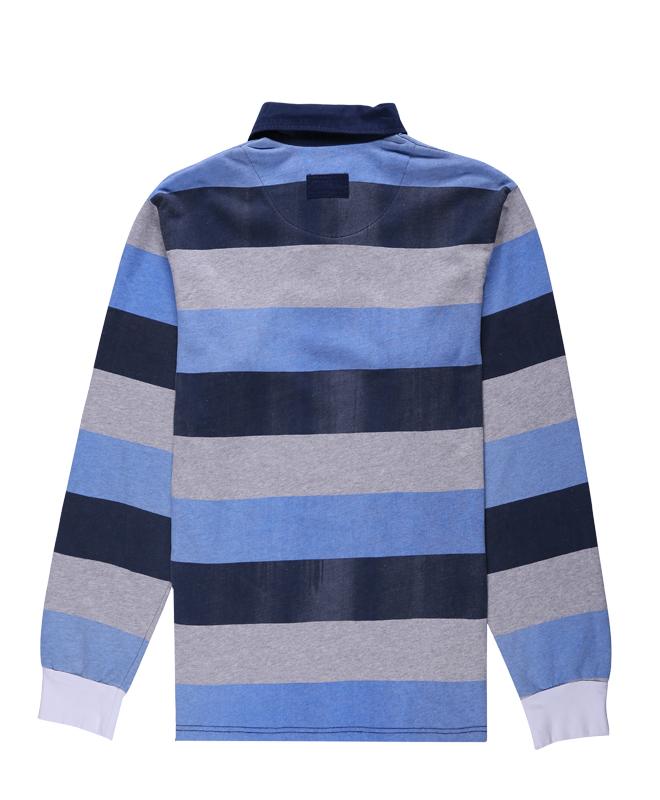 Long Sleeves Stripe Yarn Dyed Polo Shirt