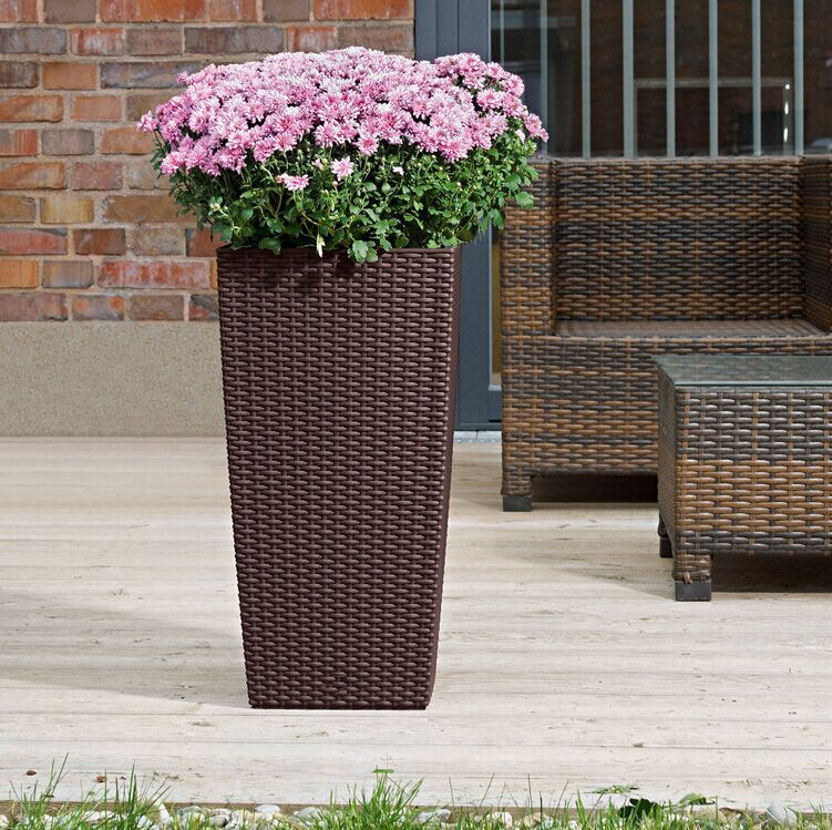 (BC-F1021) Plastic Rattan Fashionable Square Self-Watering Flower Pot
