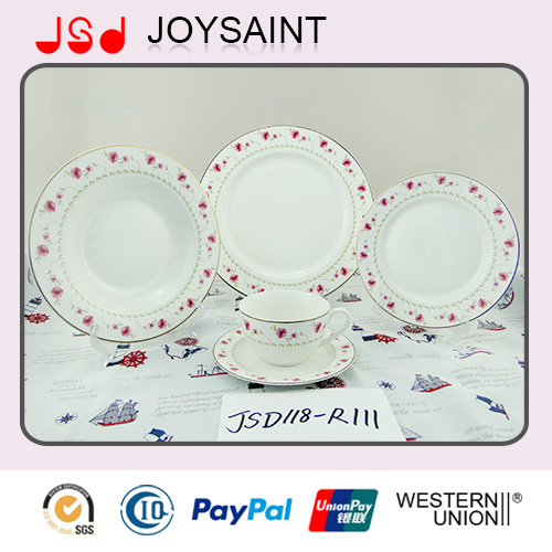 Hot Selling White Porcelain with Simple Decal Salad Plate