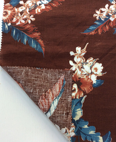 100% Linen Flower Printed Fabric for Garment/ Home Textiles