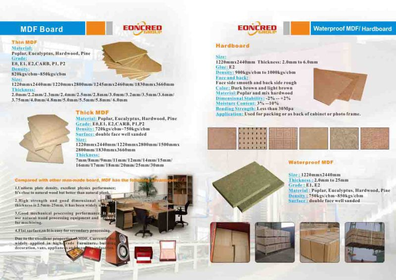 E1, E2, Carb P2 Raw MDF/Plain MDF/MDF Board
