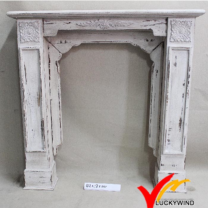 Kd Vintage Antique Red Color French Wooden Fireplace Mantel with Resin Flower