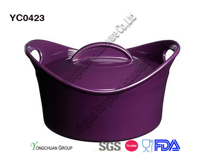 Stoneware Oven Safe Casserole with Handle