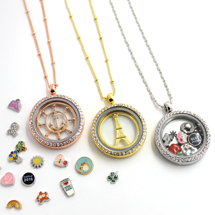 Glass Living Memory Lockets Fashion Custom Floating Charms