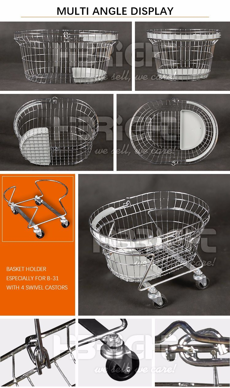 Wholesale Grocery Round Oval Supermarket Metal Wire Cosmetics Carry Shopping Basket