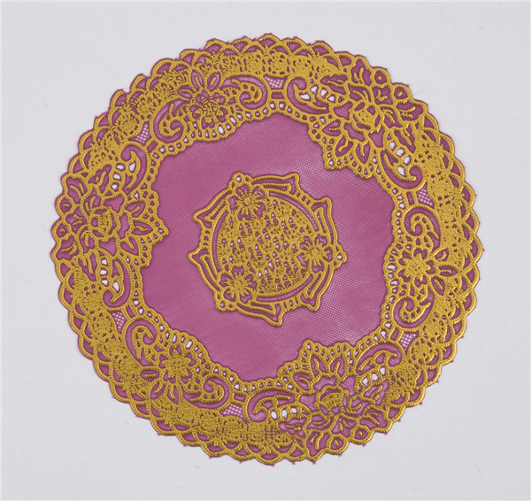16cm Round PVC Tablemat with Gold Lace Popular Coffee/Wedding