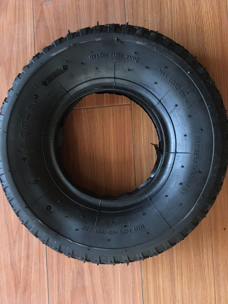 3.50-4 Rubber Trolley Wheel Tire with Steel Rim Wheelbarrow Tyre