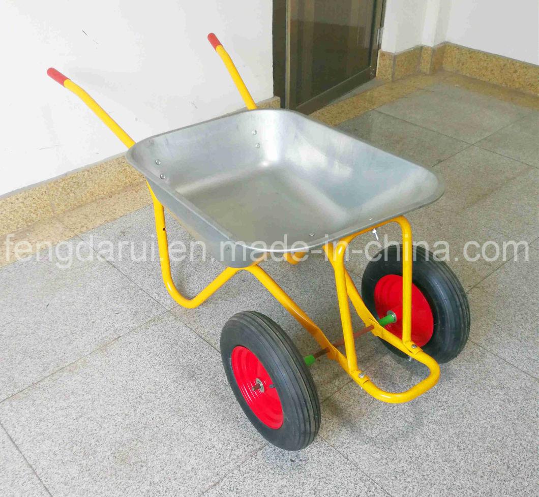 75L Zinc Tray Wheelbarrow (wb5009T) with Double Wheels